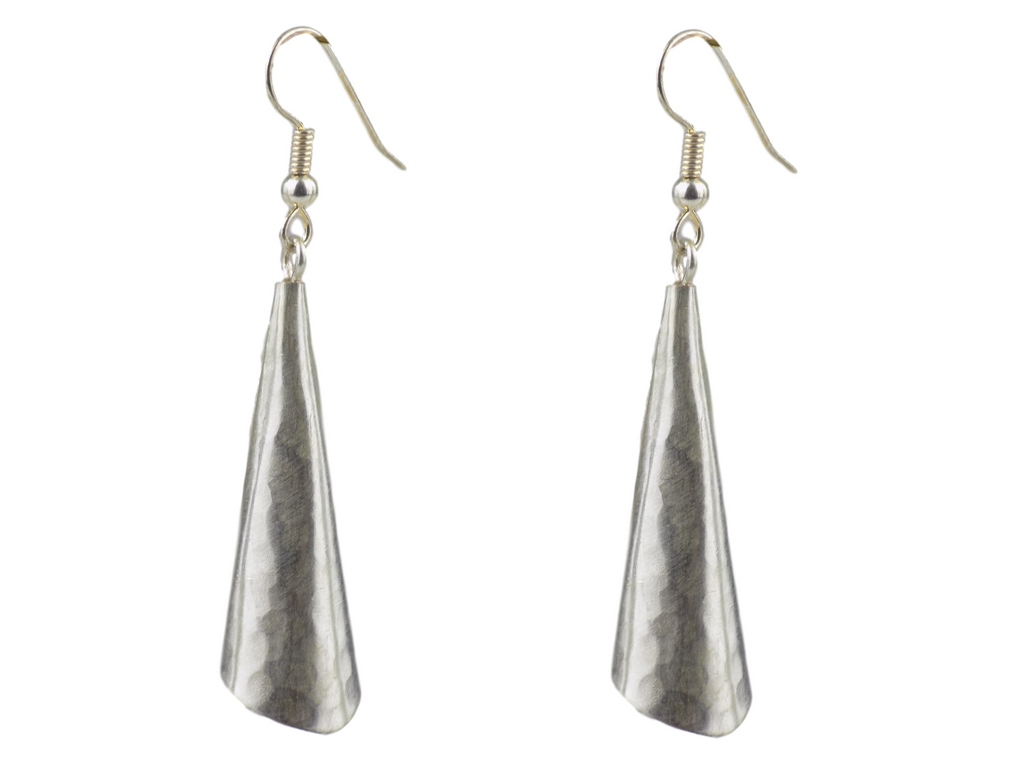 Conical Silverplate Brass Earrings