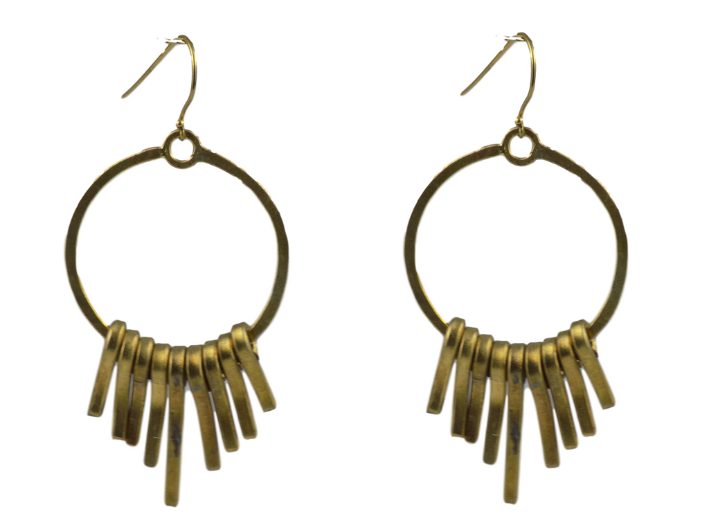Fringed Ring Brass Earrings