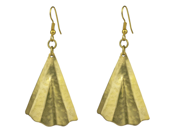 Fan Design Brass Earrings
