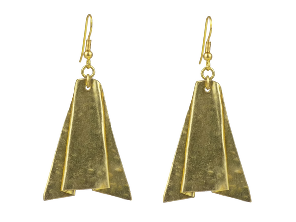Folded Brass Earrings