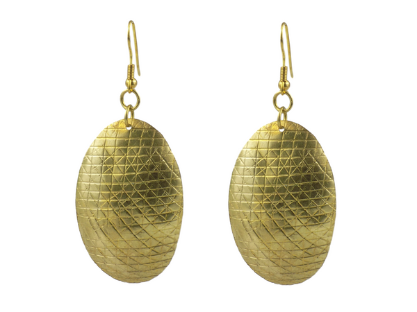 Oval Brass Earrings