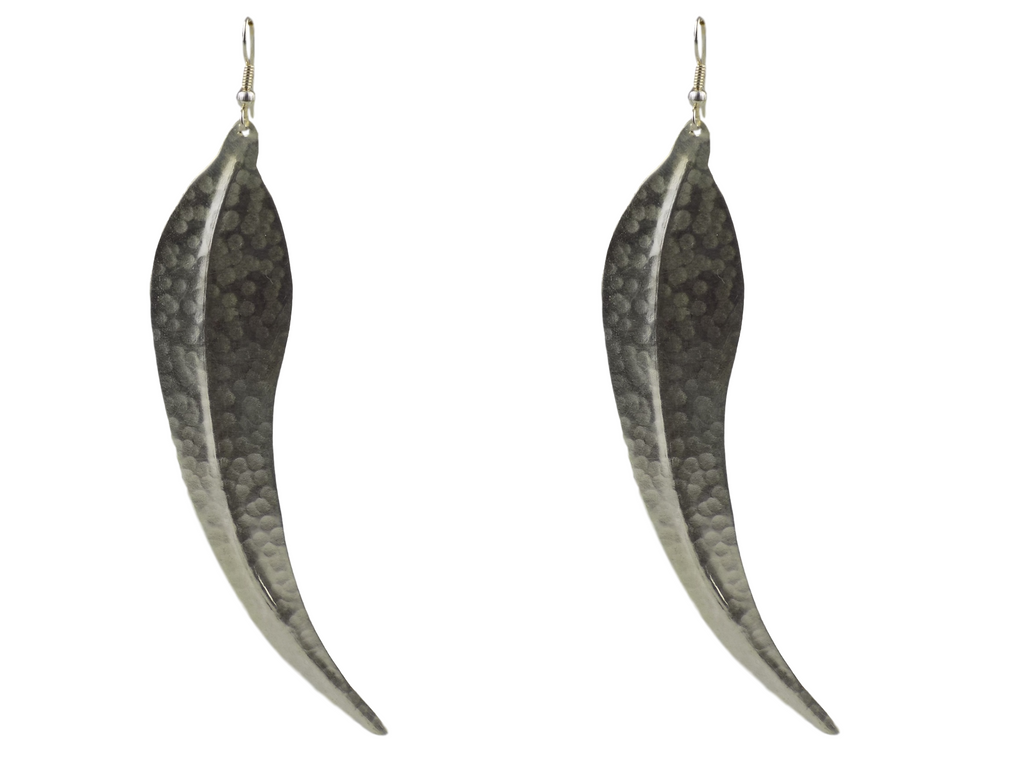 Leaf Design Silverplate Brass Earrings