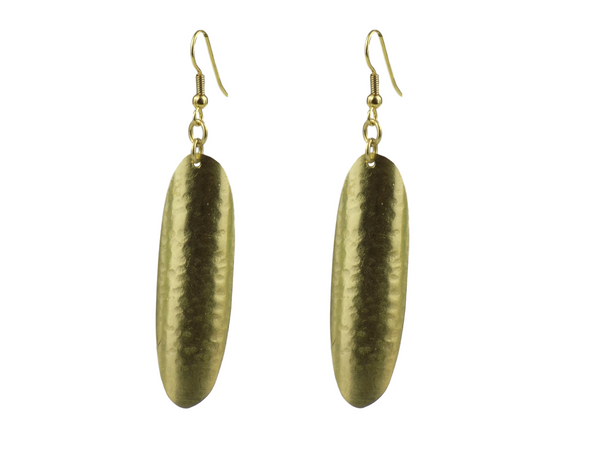 Curved Oval Brass Earrings