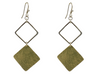 Double Rhomboid Brass Earrings