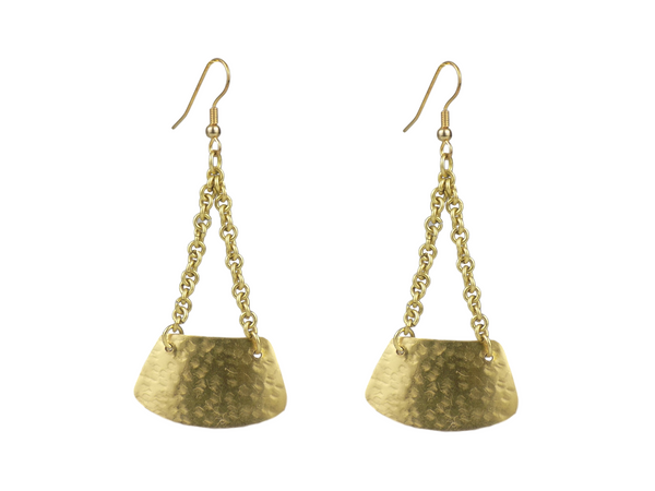 Chain-hung Brass Earrings