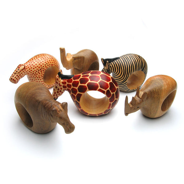 Handcarved Wooden Animal Napkin Rings from Kenya