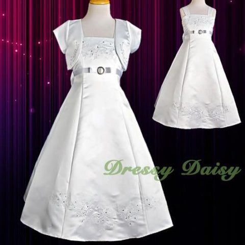 12e9c7485e1 FG018J Girls  Embroideries Special Occasion Communion Dresses Pageant –  Dressy Daisy