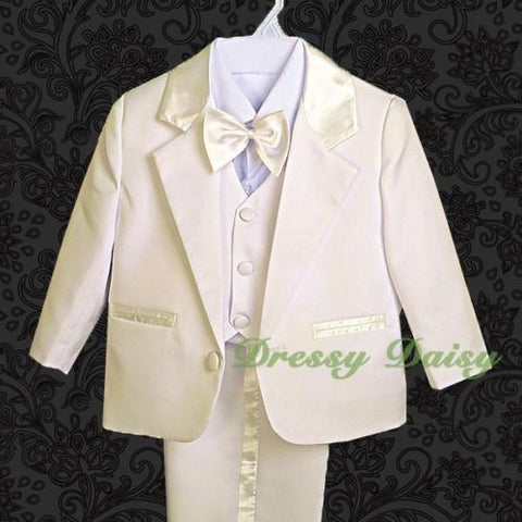 Dressy Daisy Baby Boy 5 Pcs Set Formal Tuxedo Suits No Tail Christening Outfits