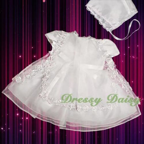 Size 3 Baptism Christening Spaghetti Strap Tulle Dress and Organza Cape with Beads