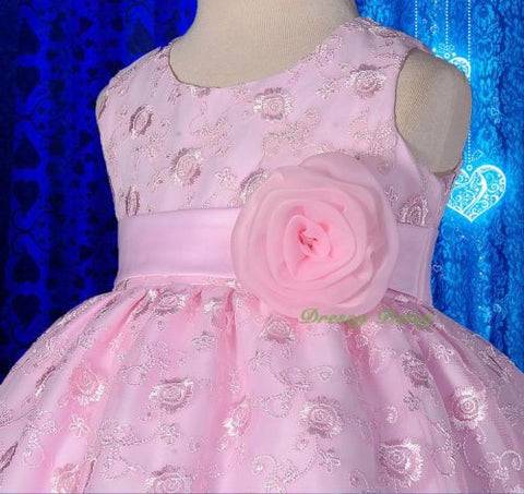 Satin Floral Embroidery Formal Party Dress Wedding Flower Girl Size 9m-5y FG272