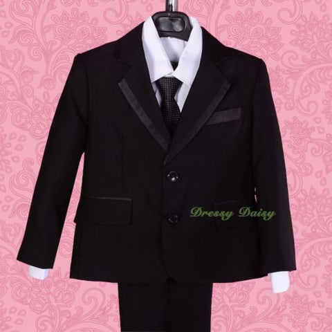 3bba83751316 ST030A Boys  5 Pcs Satin Trimmed Formal Tuxedo Suits Vest Wedding ...