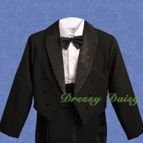 Dressy Daisy Baby Boys Classic Tuxedo Suit 5 Pcs Set Jacquard Formal Suits Wedding Outfit 015