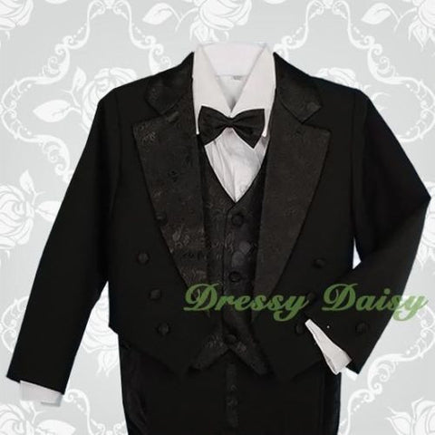 Baby Boys Tuxedo Tail Suit in Black 5 PCS Christening Wedding Pageboy Dinner