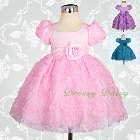 770e4bd57 FG159 Baby Embossed Flower Girl Dress Wedding Pageant Party Infant Size 3-24  Months ...