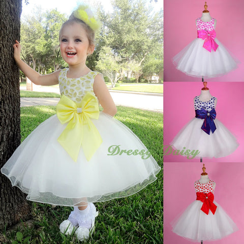 9 FG277A Off-shoulder Flower Girl Dress Wedding Pageant Party Birthday Size 2T