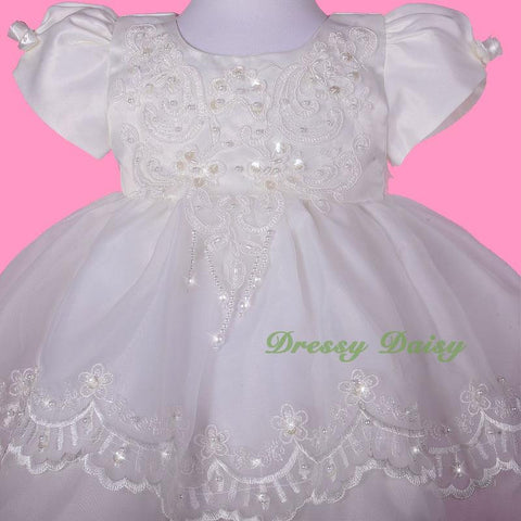 265176a75938 CN008 Baby Girls  Beaded Scalloped Embroideries Baptism Christening ...
