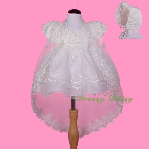 fbbbe0c22f2b CN008 Baby Girls  Beaded Scalloped Embroideries Baptism Christening ...