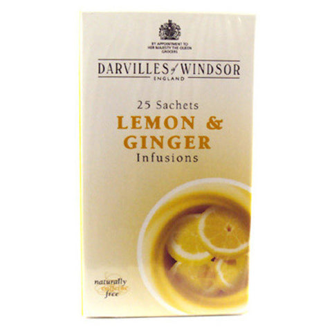 Darvilles of Windsor Lemon and Ginger Tag & Envelope Tea Bags - Box of 25