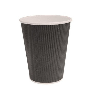 12oz black disposable ripple cup