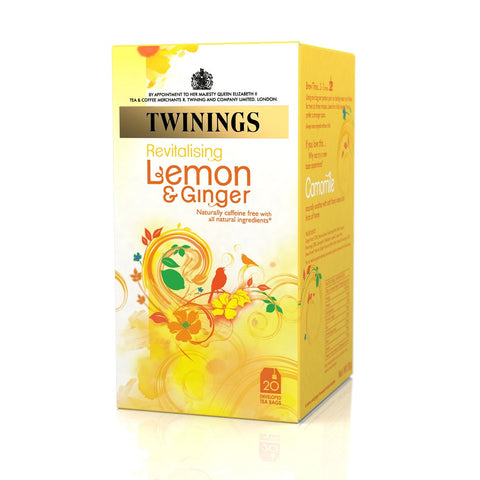 Twinings Lemon and Ginger Tag and Enveloped Tea Bags - Box of 20