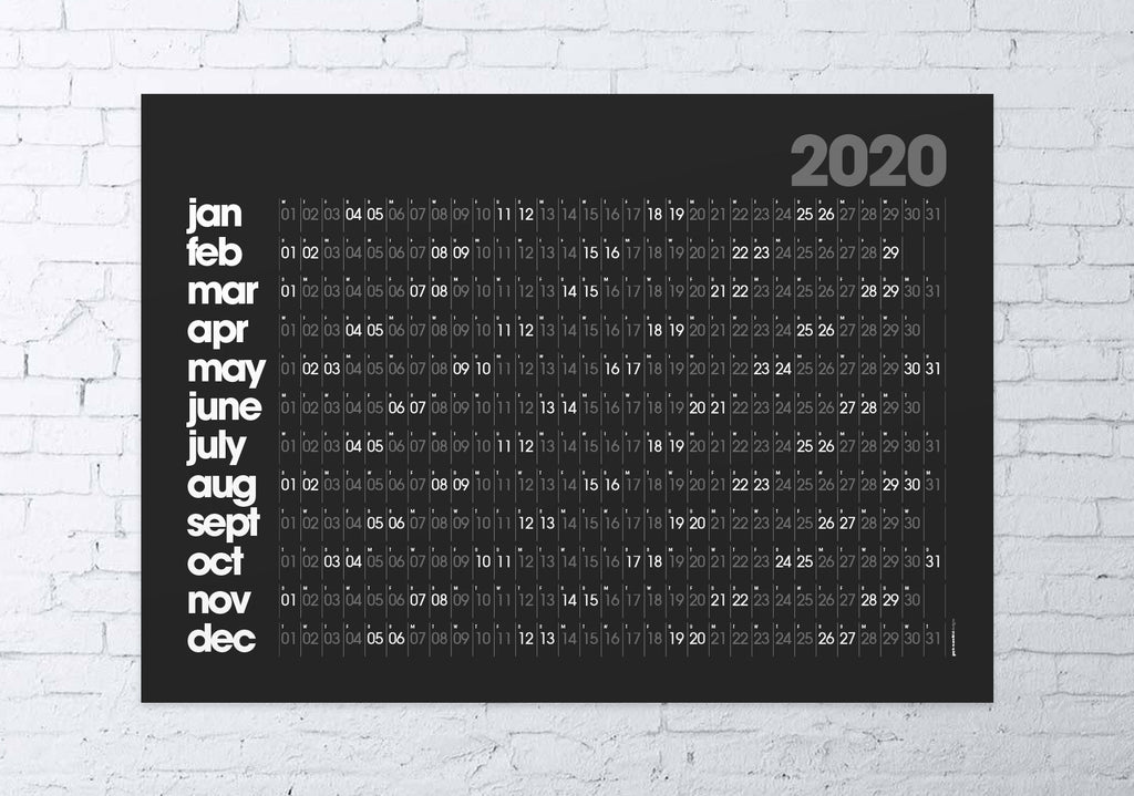 2020 wall planner (black)
