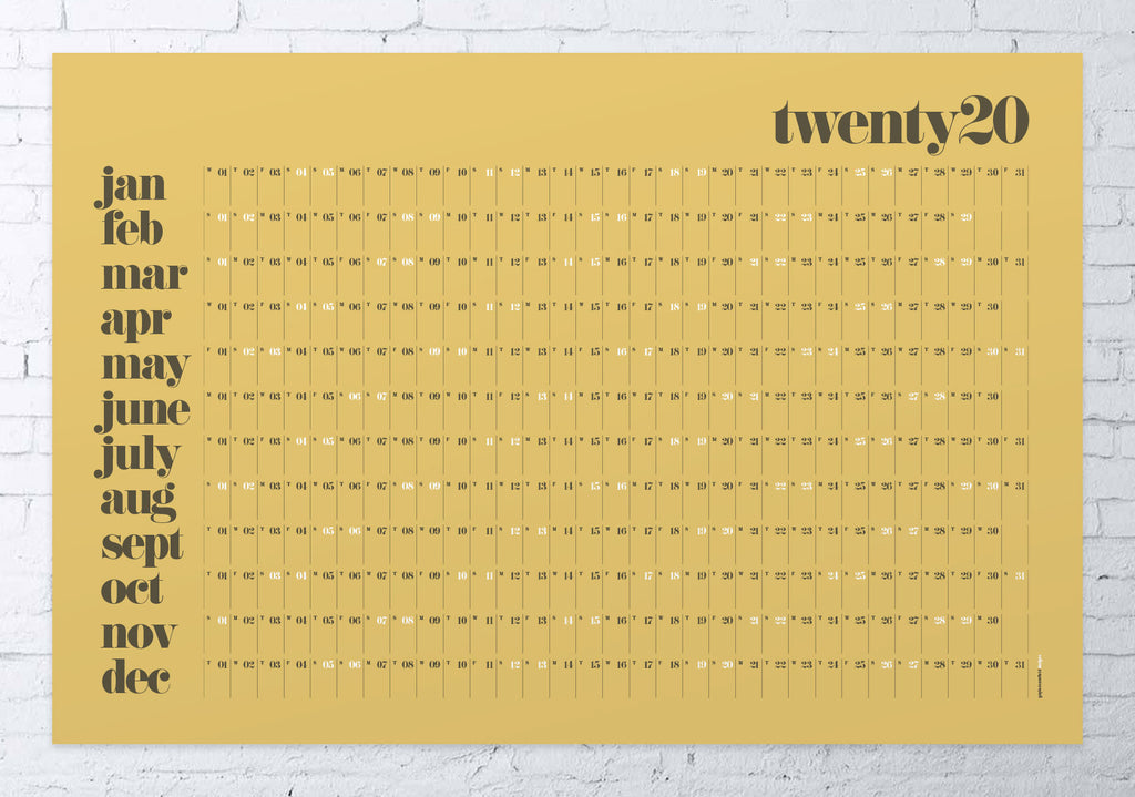 2020 wall planner classic LARGE (mustard)