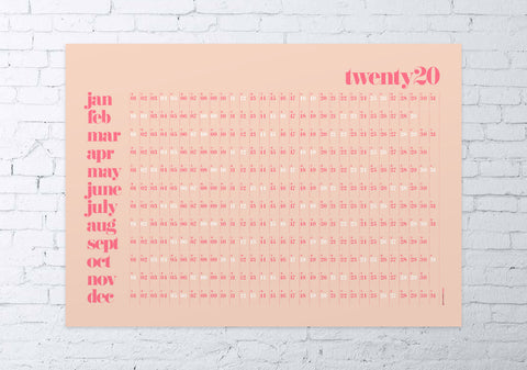 2020 wall planner classic (pink / coral)