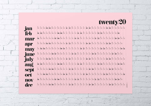 2020 wall planner classic (pink)