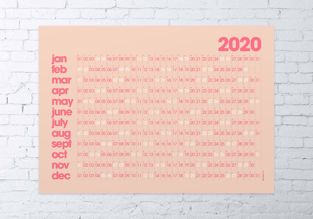 2020 wall planner (pink / coral)