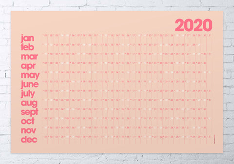 2020 wall planner LARGE (pink/coral)