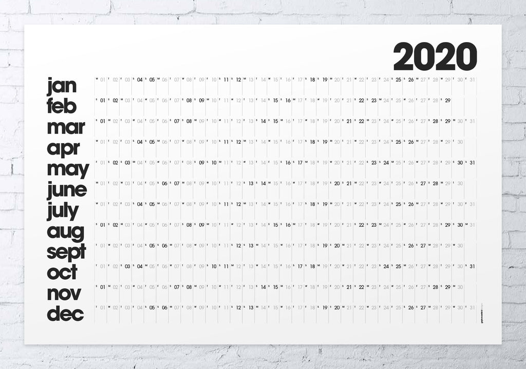 2020 wall planner LARGE (white)
