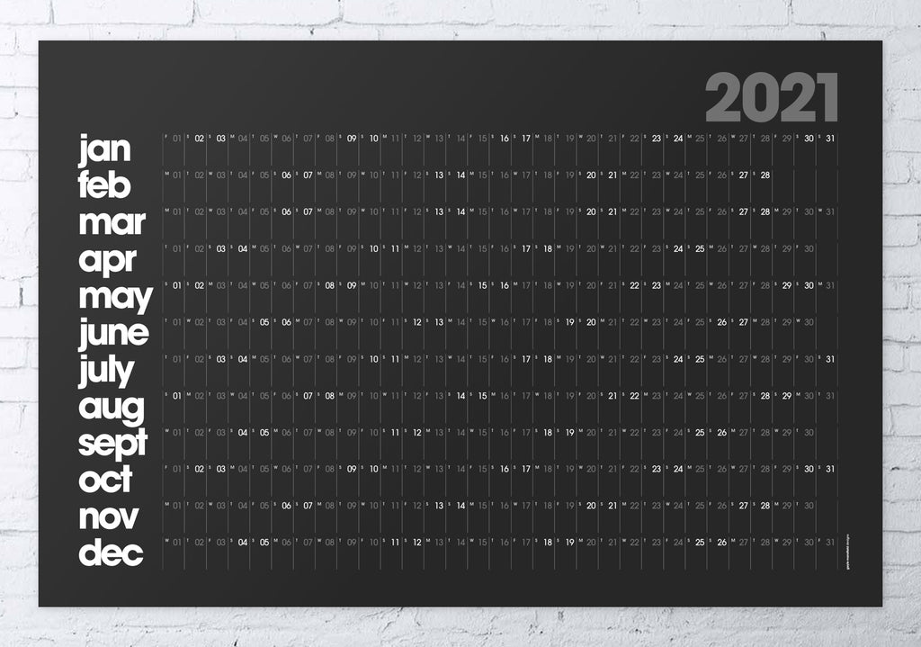 2021 wall planner black MODERN LARGE 61x91cm
