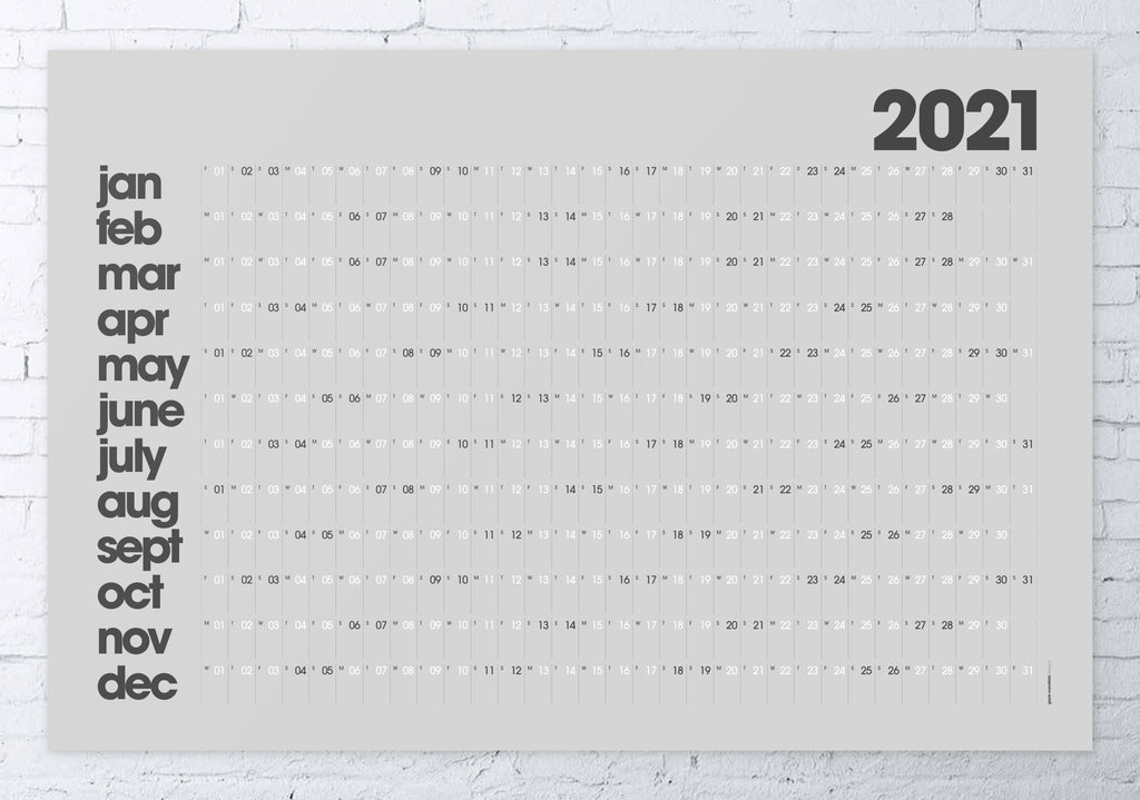 2021 wall planner grey MODERN LARGE 61x91cm