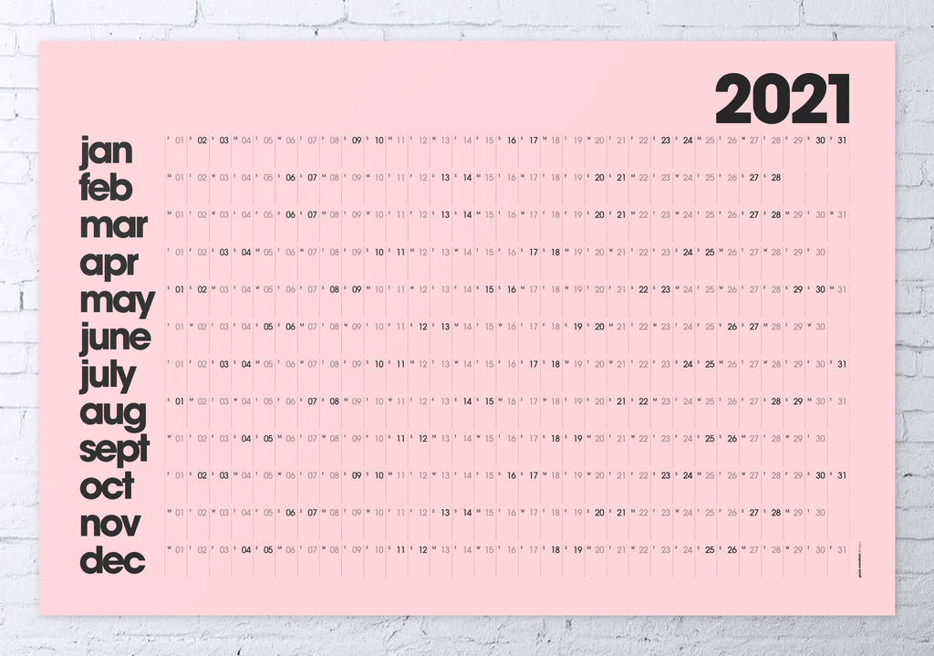 2021 wall planner pink MODERN / LARGE