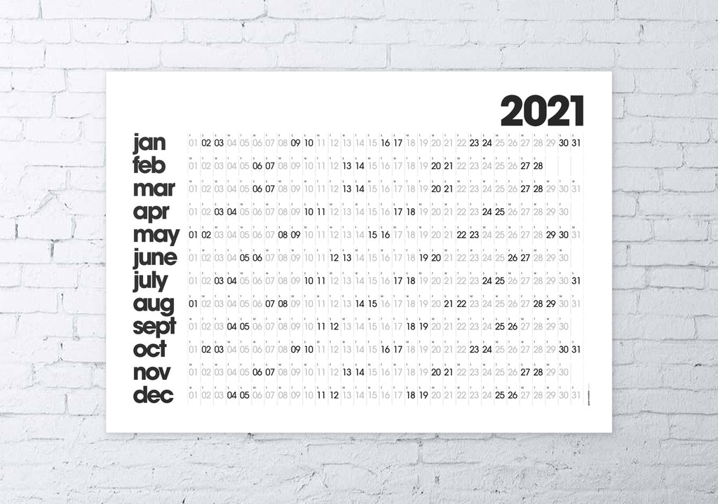 2021 wall planner white MODERN / SMALL