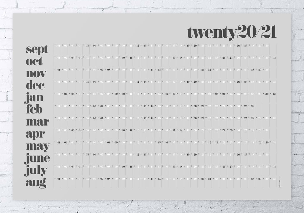 2020/2021 academic wall planner 61x91cm (grey/classic)