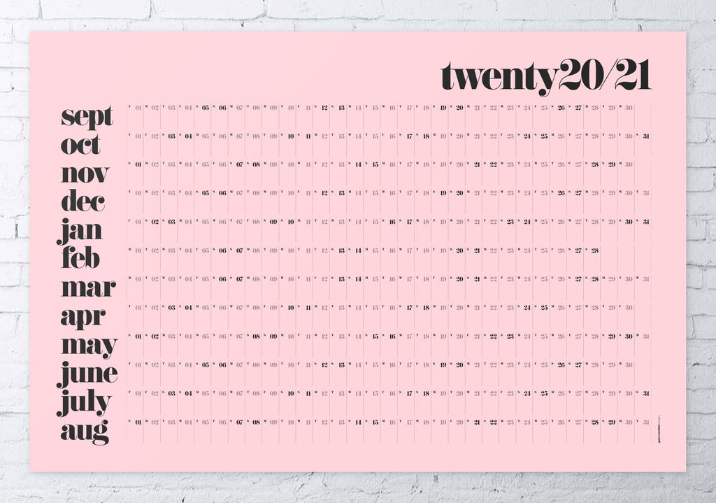 2020/2021 academic wall planner 61x91cm (pink/classic)