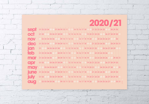 2020/2021 academic wall planner 50x70cm (coral/modern)