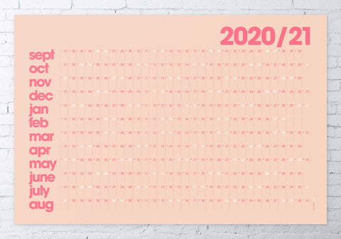 2020/2021 academic wall planner 61x91cm (coral/modern)