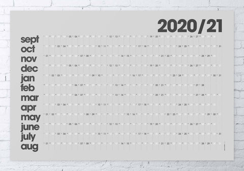 2020/2021 academic wall planner 61x91cm (grey/modern)