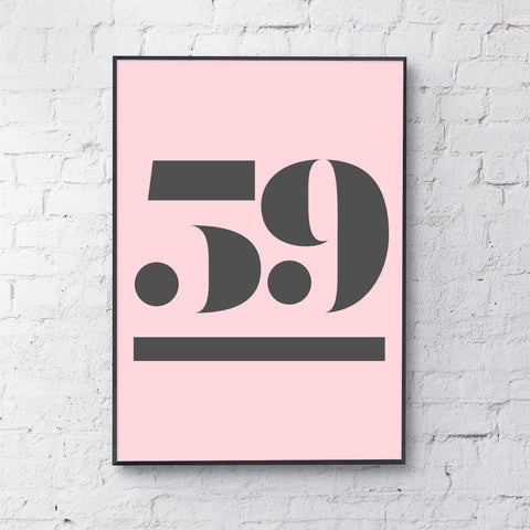 antique digit (personalised - black on pink)