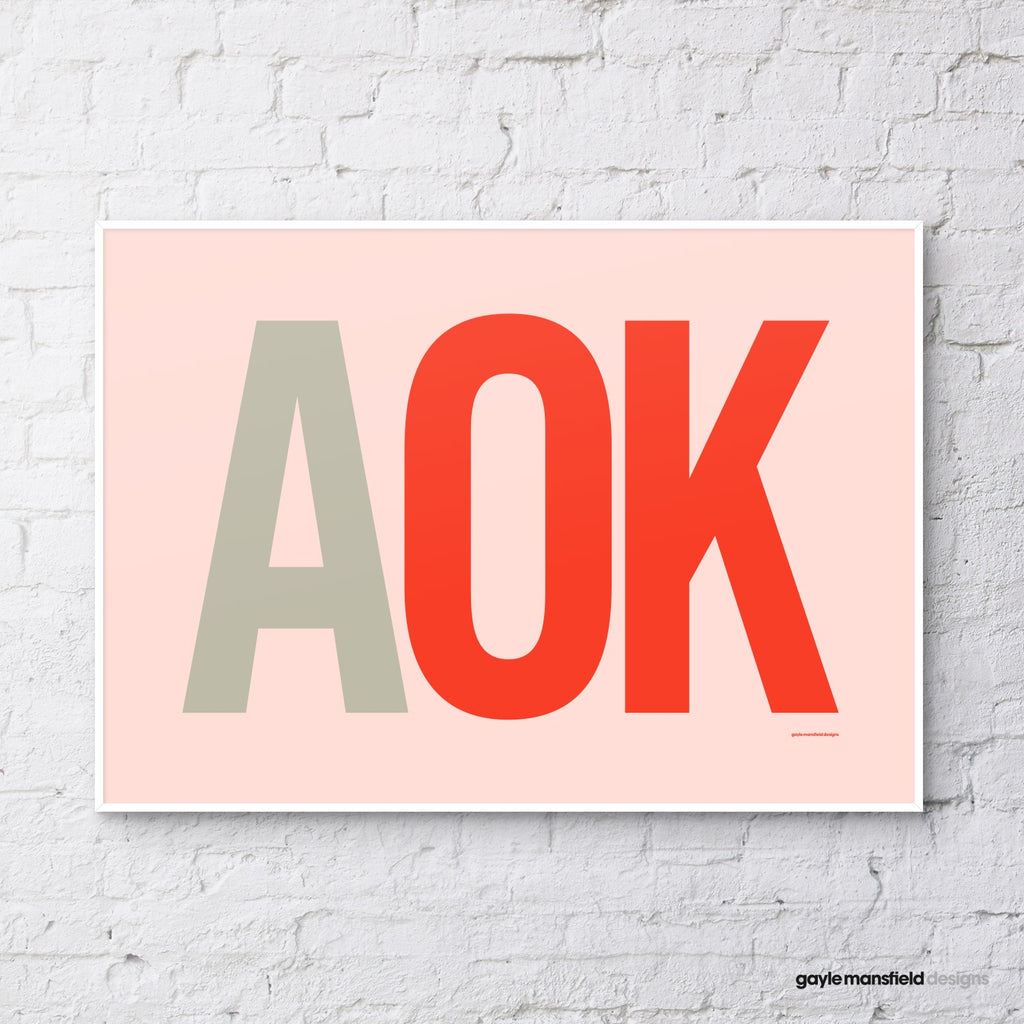 AOK (red on coral pink)