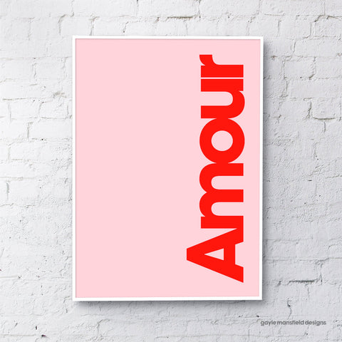 Amour (red on pink)