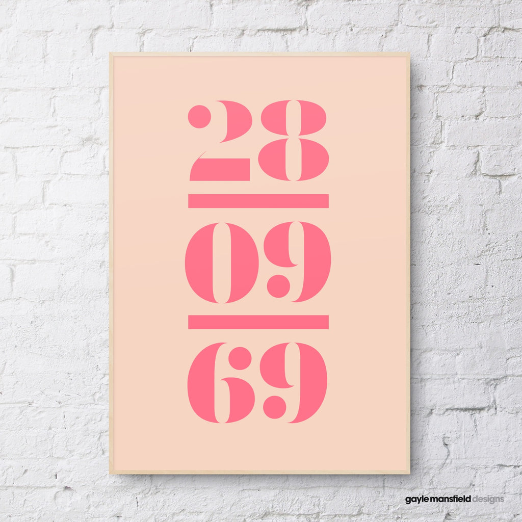 antique digit/letter triple layer (pink on coral)