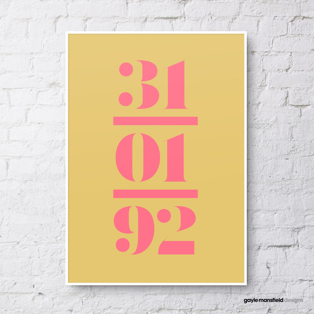antique digit/letter triple layer (pink on mustard)