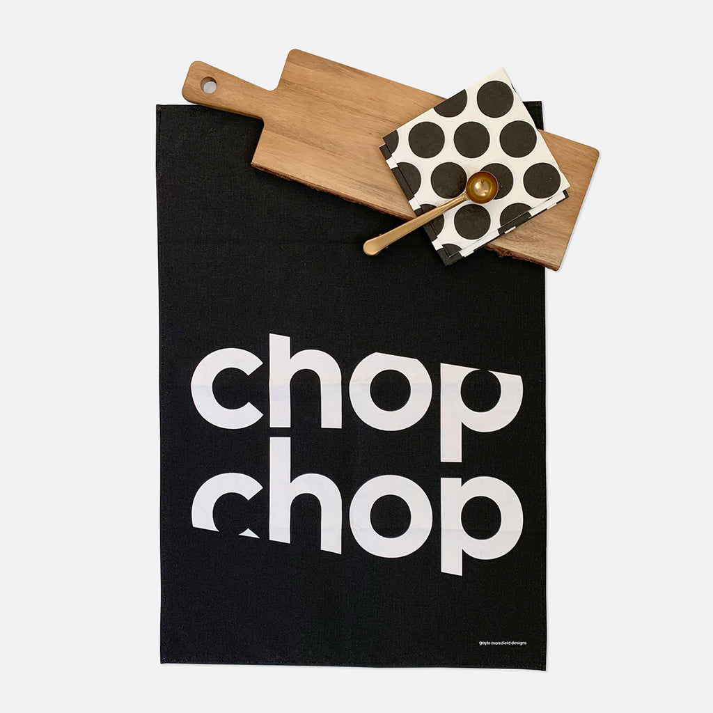chop chop tea towel (white on black)