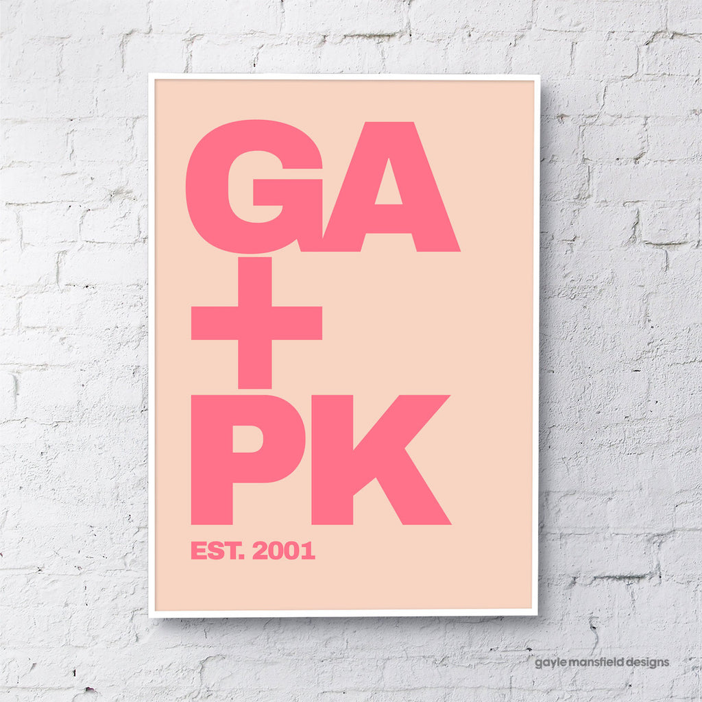 Initials - pink/coral (personalised)