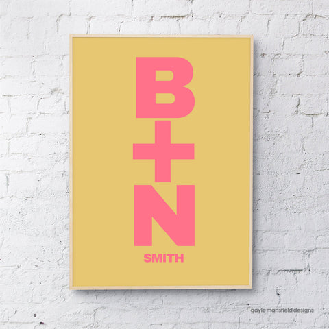 Initials - mustard/pink (personalised)