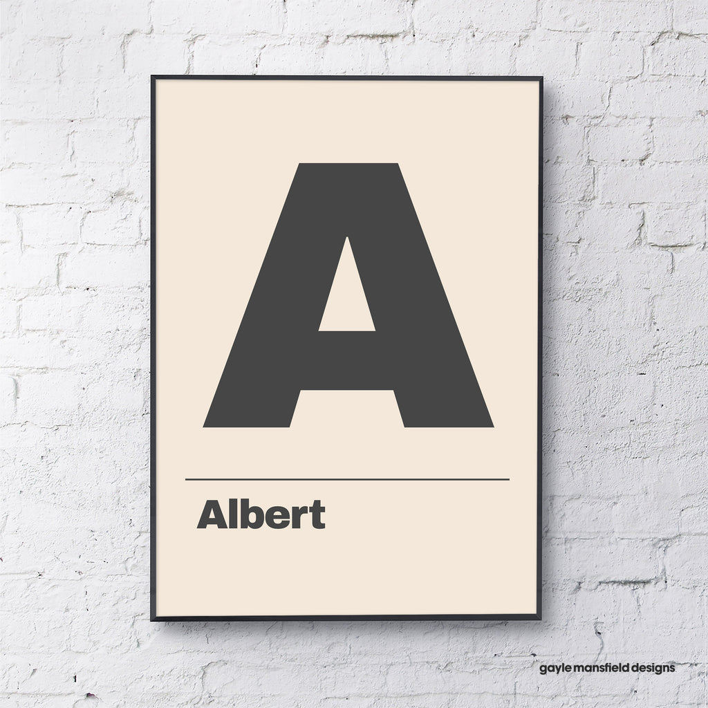 Letter (black on cream - personalised)