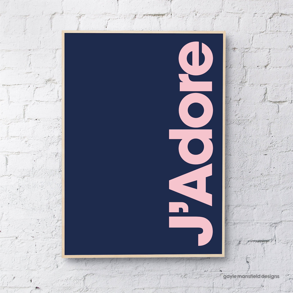 J'Adore (pink on navy)